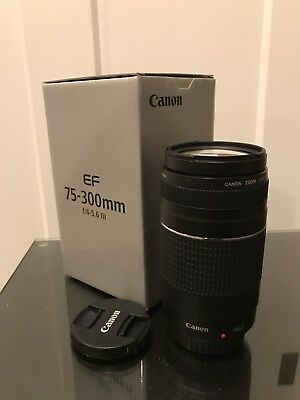 Canon EF 75-300mm f/4-5.6 III Lens - Absolutely MINT with Lens Caps! & BOX
