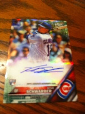 2016 Kyle Schwarber 95/99 Rookie Auto Topps Chrome Green Refractor Chicago Cubs