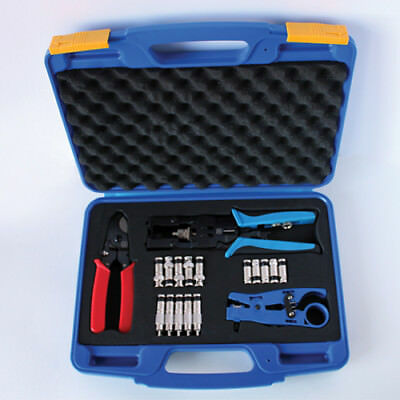 AG Cables Coaxial Compression Tool Kit with Cable Stripper Cutter Connectors