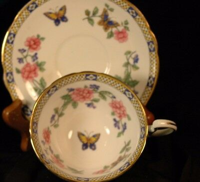 Aynsley Butterfly Floral Cup and Saucer