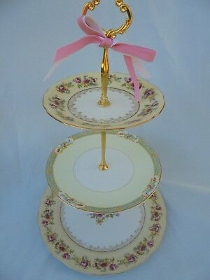 Cake Stand, Wedding Centerpiece, 3 Tier, Serving Tray, Vintage China, French