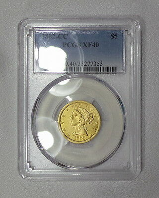 1876-CC XF & 1882-CC PCGS XF40 $5 gold half eagles, 1876-CC is RARE and low pop!