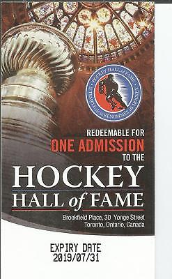 2 Hockey Hall of Fame Admission Passes Valued at  $38.00 Toronto