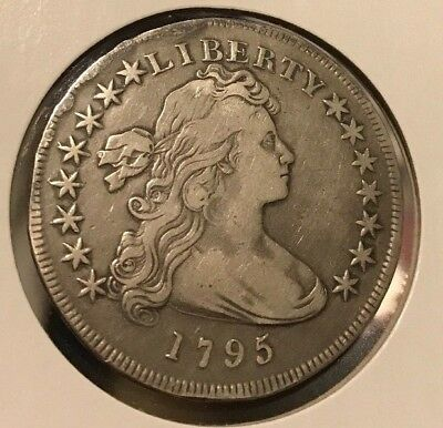 1795 Flowing Hair or Draped Bust Silver Dollar. Off Center. coin Marked XF