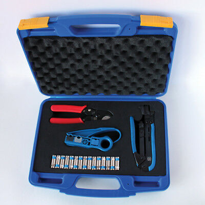 AG Cables Coaxial Compression Tool Kit with Cable Stripper Cutter Connectors RG6