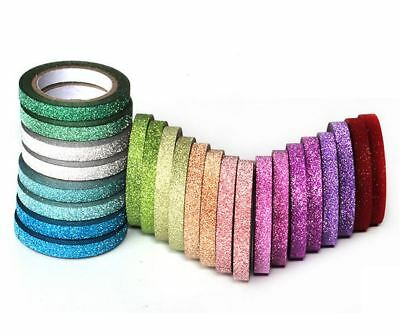 Set Of 24 - 12 Color Craft Glitter 5mm X 5 Meter Sticky Tape DIY Scrapbook Diary