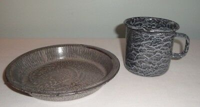 """Gray Graniteware Enamelware 6 1/4"""" Pie Plate and Small Cup"""