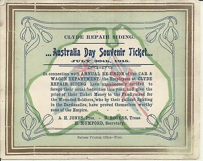 Wwi 1915 Clyde Repair Siding Australia Day Ticket Gallipoli Wounded Fund Raiser