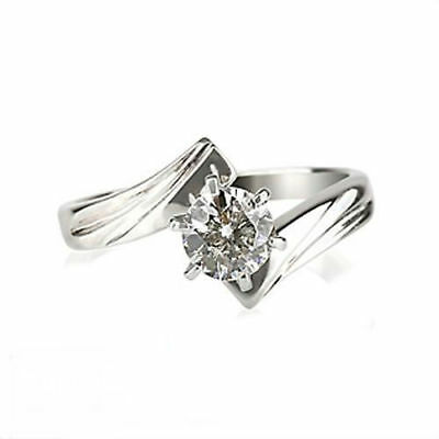 Solitaire Round Shape Natural Diamond 0.7 Ct Si 18K White Gold Betrothal Ring