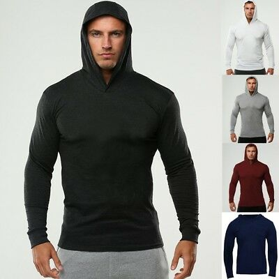 New Men's Hoodie Gym Bodybuilding Cotton Long Sleeve Top Hooded Shirt Jumper AU