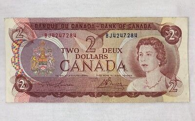 Canadian Currency 1974 Two 2 Dollar Bill Bank Note BJ4247284 Bank of Canada