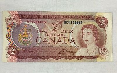 Canadian Currency 1974 Two 2 Dollar Bill Bank Note BE4288889 Bank of Canada