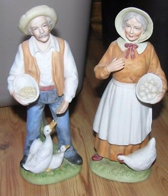Vintage Old Man & Old Woman Figurines Homco ~ Home Interiors