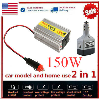 150W Power Inverter DC 12V to AC 220V Auto Car Converter Adapter USB Charger