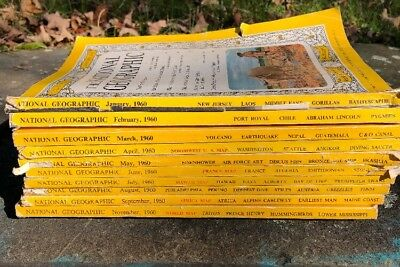 Lot Of Six (10) 1960s National Geographic Magazine Oct And Dec Missing