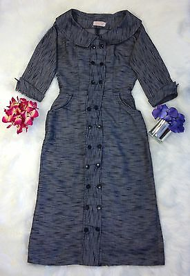 Vintage 50s VLV Grey Women's Dress Polly Tall Rockabilly Large Size Medium G06