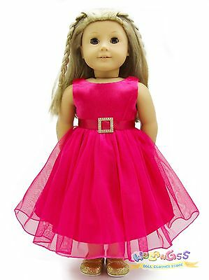 "Doll Clothes fits 18"" American Girl Handmade Deep Pink Party Dress"
