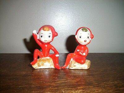 Vintage Japan Christmas Pixie ELF Elves Figurines Ceramic set of Two Super Cute!