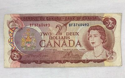 Canadian Currency 1974 Two 2 Dollar Bill Bank Note BF3760492 Bank of Canada