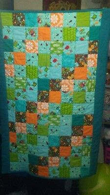 Baby Quilt, multicolored, Handmade by me, fits crib or toddler bed, boy or girl