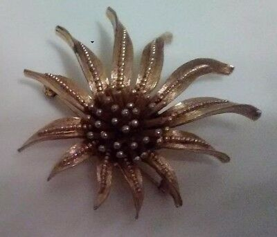 Vintage Marcel Boucher Gold Gilded Brooch Abstract Flower Pin Signed