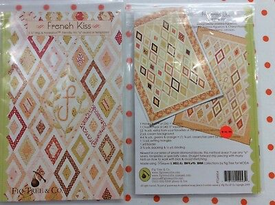 """QUILT PATTERN. """" FRENCH KISS"""" by FIG TREE & CO. 57"""" x 72"""""""