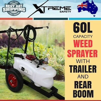 12V 60L ATV Weed Sprayer Tank With Heavy Duty Trailer Rear Boom Farm Spot Garden