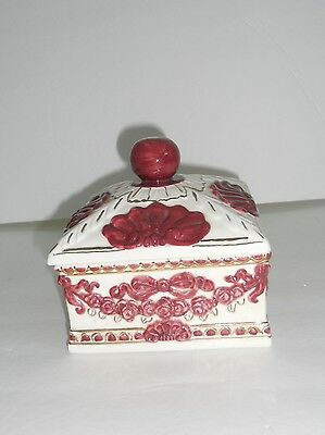 """CALIFORNIA POTTERY Trinket Or Jewelry Box White Ceramic Maroon Gold Signed """"JS"""""""
