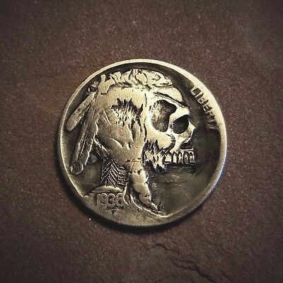 Hobo Nickel Skull Hand Carved Buffalo 1936 Walking Dead Zombie Coin #15b
