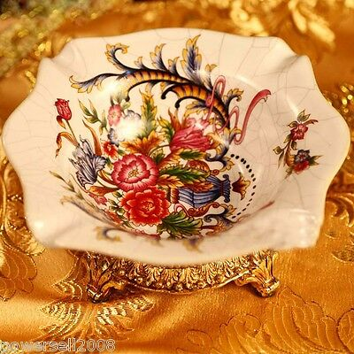 European Retro Collection Baroque Crack Ceramics Large Jewelry Box / Ashtray