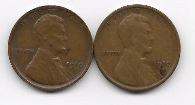 1910 + 1910s  lincoln wheat cent cents penny 2 coin lot