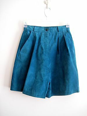 Vintage High Waisted Leather Shorts Blue Suede Shorts