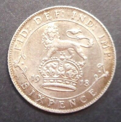 Great Britain 1918  KGV Silver 6d  Sixpence XF+