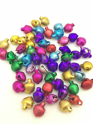 Free delivery 100pcs Mini Jingle Bells 6mm x 8mm Mix Clour For Craft Jewellery 3