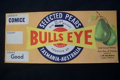 Vintage Original Apple Box Crate Label Tasmania Bulls Eye Blacked Out Weight