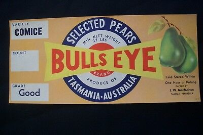 Vintage Original Apple Box Crate Label Tasmania Bulls Eye Not Blacked Out Weight