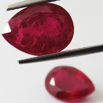 19 CT RARE AWESOME! PIGEON BLOOD RED RUBY CHATAM PEAR PAIR GEM 10x12mm