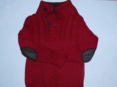 Baby Gap Boys Cable Knit Red Sherpa Lined Pull Over Sweater size 4 EUC