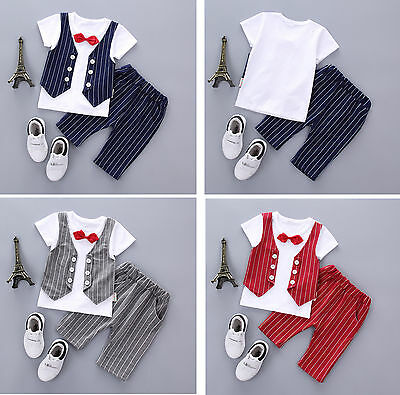 Kids Newborn Baby Boy Short Sleeve Gentleman Party T-Shirt +Shorts Pants Clothes