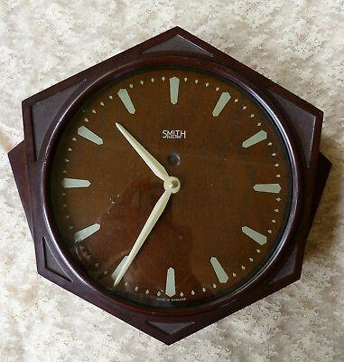 LARGE~Antique~Vintage~Bakelite~ART~DECO~c1930s~SMITH~Factory~Industrial~Clock