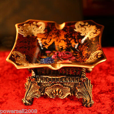 European Retro Collection Resin Crack Ceramics Home Accessories Gold Ashtray