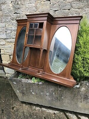 Edwardian Antique Overmantle Mirror in Mahogany