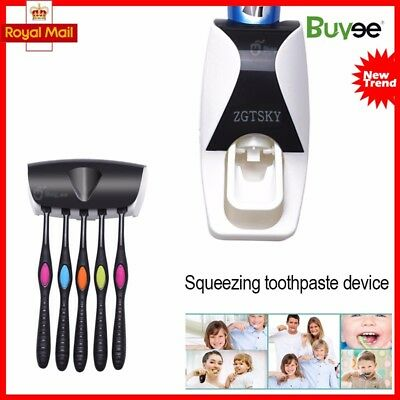 Auto Squeezing Toothpaste Dispenser + 5 Toothbrush Holder Set Wall Mount Stand