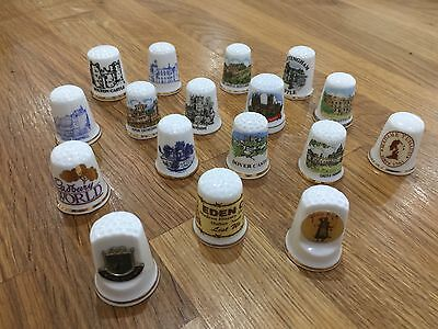 Various Lot Collectable Thimbles Collection of 17