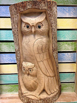 30cm Hand Carved Wood Tree Log Double Owl Hand Made Carving Garden Ornament