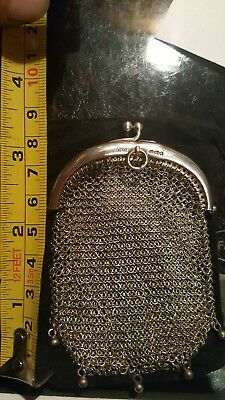 Antique silver chainmail purse