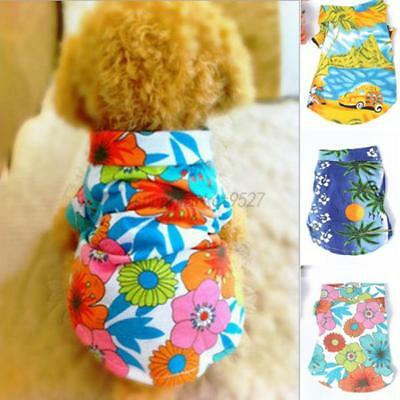 Small Pet Dog Summer Clothes Hawaiian Beach Floral T-Shirt Vest Apparel Costumes