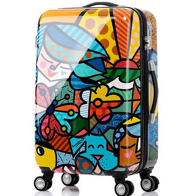 "28""Cartoon TSA Coded Lock Universal Wheel ABS+PC Travel Suitcase Luggage Trolley"
