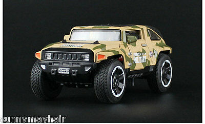 1/32 Hummer Sand Alloy Diecast Military Light&Sound Pull Back Truck Vehicles To
