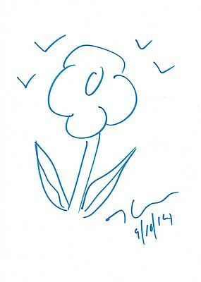 Jeff Koons Original Flower drawing signed & Dated & COA